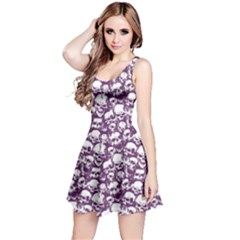 Purple Grunge Pattern With Skulls Illustration Sleeveless Skater Dress by CoolDesigns