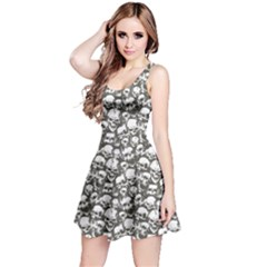 White & Grey Grunge Skulls Pattern Sleeveless Skater Dress