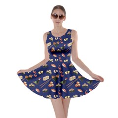 Navy Japanese Food Sushi Pattern Skater Dress