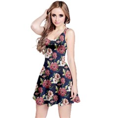 Navy3 Floral Sleeveless Skater Dress by CoolDesigns