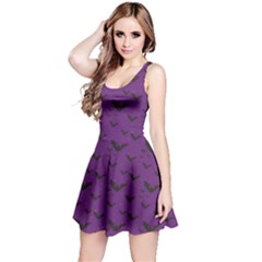 Purple With Halloween Bats And Stars Sleeveless Dress by CoolDesigns