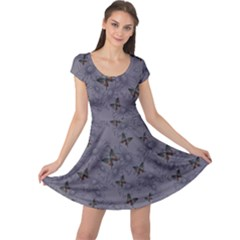 Blue Daisies And Butterflies Handdrawing Cap Sleeve Dress by CoolDesigns