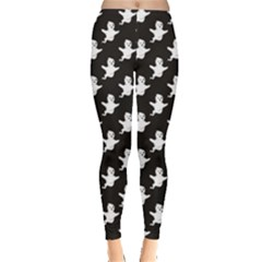 Black Flying Cute Halloween Ghots In Pattern For Seasonal Women s Leggings by CoolDesigns