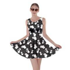 Black Cartoon Cats Black Silhouettes With White Skater Dress by CoolDesigns