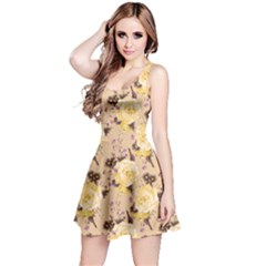 Yellow Vintage Roses Pattern Sleeveless Skater Dress  by CoolDesigns