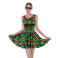 Black Vegetable Pattern Skater Dress  by CoolDesigns