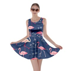 Navy Flamingo Bird Pattern Skater Dress by CoolDesigns