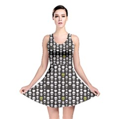 Black Alien Head Reversible Skater Dress