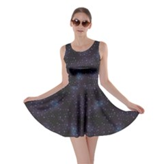 Blue Pattern Constellations Of Hearts On Night Skater Dress by CoolDesigns
