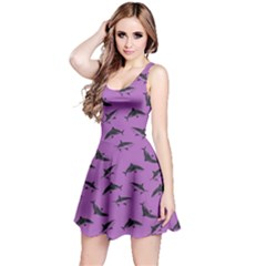 Purple Sharks Pattern Reversible Sleeveless Dress by CoolDesigns