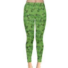 Green Pattern With Clover Leaves Leggings