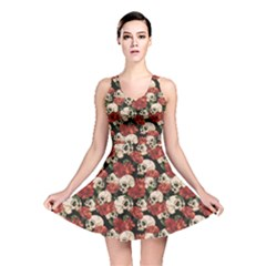 Skull Flowers Vintage Reversible Skater Dress by CoolDesigns