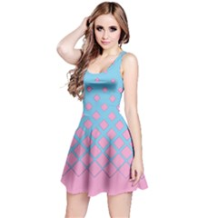 Mint Pink Gradient Rhombuses Reversible Sleeveless Dress by CoolDesigns