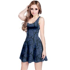 Navy Ravens Pattern Reversible Sleeveless Dress by CoolDesigns