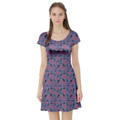 Blue Set Of Silhouettes Dinosaur Animal Retro Pattern Short Sleeve Skater Dress by CoolDesigns
