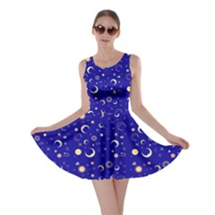 Royal Blue Fun Night Sky The Moon And Stars Skater Dress