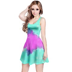 Aqua & Pink Tie Dye Reversible Sleeveless Dress by CoolDesigns