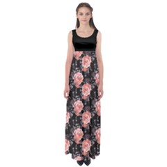 Black Roses Empire Waist Maxi Dress