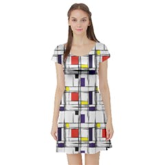Colorful Pattern Retro Geometric Pattern Short Sleeve Skater Dress by CoolDesigns