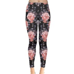 Black Roses Floral Leggings  by CoolDesigns