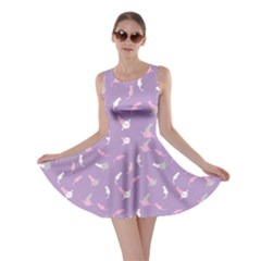 Lavender Space With Cats Saturn And Stars Skater Dress  by CoolDesigns