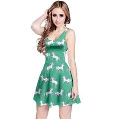 Green Unicorn Seamless Sleeveless Skater Dress  by CoolDesigns