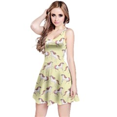 Cowcow Womens Light Yellow Unicorn Seamless Sleeveless Skater Dress by CoolDesigns