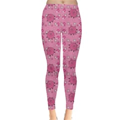 Pink Pattern With Cute Pigs Women s Leggings by CoolDesigns