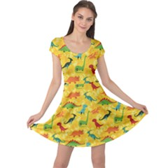 Yellow Cartoon Dinosaur Pattern Cap Sleeve Dress by CoolDesigns