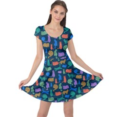 Blue Colorful Cats Silhouettes Pattern Cap Sleeve Dress by CoolDesigns