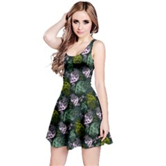 Green Skull Skull With Flowers Reversible Sleeveless Dress  by CoolDesigns