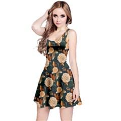 Teal Vintage Roses Pattern Sleeveless Skater Dress