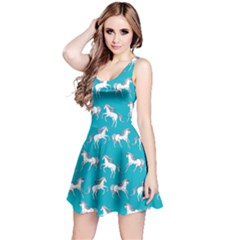 Turquoise Unicorn Seamless Sleeveless Skater Dress  by CoolDesigns