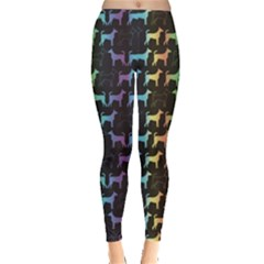 Colorful Bright Spectrum Pattern Of Dog Silhouettes On Black Women s Leggings