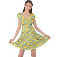 Green Pattern With Yellow Ducks Cap Sleeve Dress by CoolDesigns