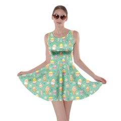 Mint Yummy Ice Cream Pattern Skater Dress