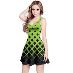 Neon Green Gradient With Black Rhombuses Sleeveless Skater Dress by CoolDesigns