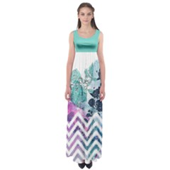 Mint Chevron Empire Waist Maxi Dress by CoolDesigns