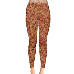 Brown Pattern Fallen Autumn Warm Shades Leaves Leggings by CoolDesigns