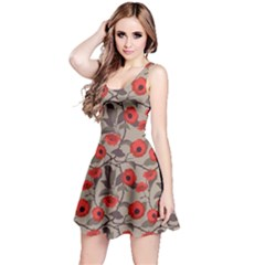 Red Pattern Flowers Roses Floral Vintage Style Reversible Sleeveless Dress