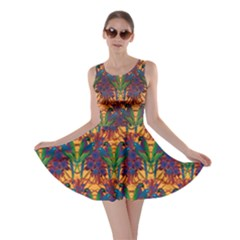 Colorful Pattern With Macaw Parrots Hand Drawn Skater Dress by CoolDesigns