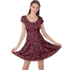 Black Red Skulls Pattern Geometric Contemporary Style Repeating Cap Sleeve Dress