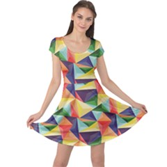 Colorful Triangle Pattern Geometric Abstract Texture Cap Sleeve Dress