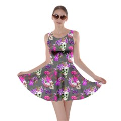 Dark Gray Skull And Flowers Pattern Skater Dress by CoolDesigns