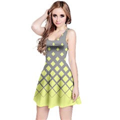 Grey Yellow Gradient Rhombuses Reversible Sleeveless Dress by CoolDesigns