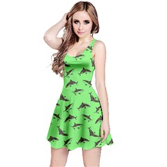 Neon Green Sharks Pattern Reversible Sleeveless Dress by CoolDesigns