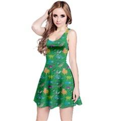 Green Dinosaur Stylish Pattern Skater Dress by CoolDesigns