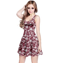 Wine Grunge Skulls Pattern Sleeveless Skater Dress