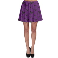 Purple With Halloween Bats And Stars Skater Skirt by CoolDesigns