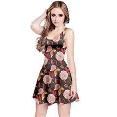 Brown Vintage Roses Pattern Sleeveless Skater Dress  by CoolDesigns